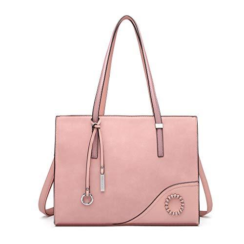 Miss Lulu Handtaschen Damen Schultertasche Große Elegante Aktentasche für Arbeit Reise (Pink)