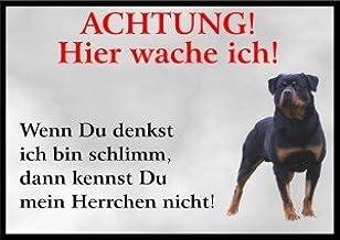 PEMA INDIGOS UG - Acht/Fun schild - Rottweiler deurschild gelamineerd DIN A4 - deurbordje voor kooien, klemmer, huisdiere...