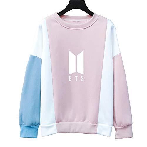 KroY PecoeD BTS Sweatshirt Bangtan Boys Lieben Sie sich Serie Frühling Herbst Sweatshirt Runde High Neck Langarm Pullover Casual Printed Kleidung(Medium Pink2)