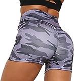 OLIPHEE Pantalones Cortos de Deporte Mujer de Cintura Alta Camuflaje para Fitness Hacer Yoga Transpirables Pantalones Deportivos L-1