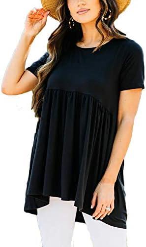 Womens Summer Round Neck Ruffle Loose T Shirt Short Sleeve Flowy Blouse Tunic High Low Hem Peplum product image