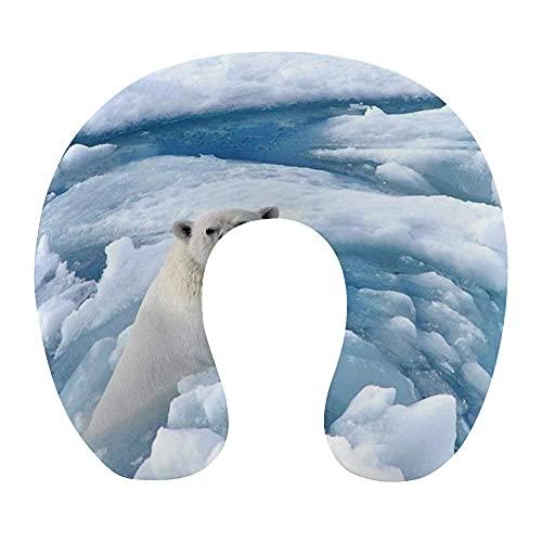 Almohada de Cuello de Oso Polar frío Helado cómodo y Transpirable Almohada de Viaje en Forma de U de Espuma viscoelástica Suave para Coche de Oficina en casa de avión