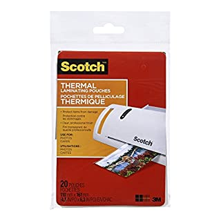 """Scotch Thermal Laminating Sheets, 4.3"""" x 6.3"""", 5-Mil Thick, 20 Laminating Pouches (B00ENFRBW8) 