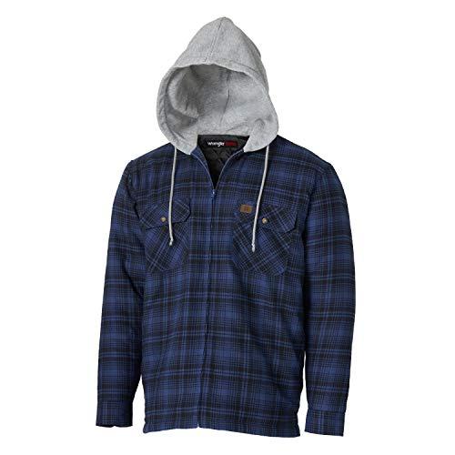 Wrangler Riggs Workwear Men's Hooded Flannel Work Jacket, Blue/Black, X-Large