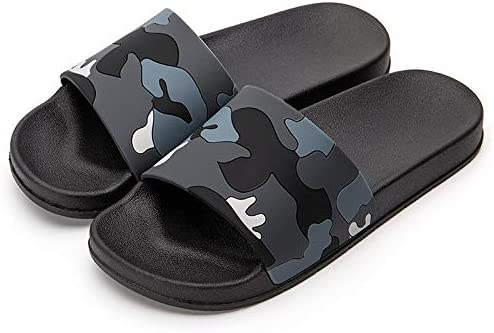 TCXT Men Slippers Camo Home Slides Bathroom Summer Casual Style Shoes Non-Slip Flip Flops Light Weight Flat Slide Sandals Shower Sandals (Color : Gray, Shoe Size : 10.5)
