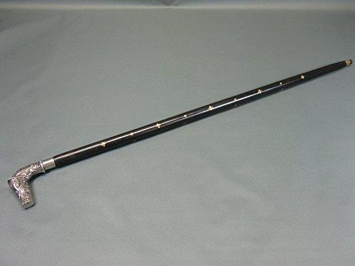 Bâton de marche argenté avec inserts en laiton dans le manche M 104 Canne de randonnée 95 cm