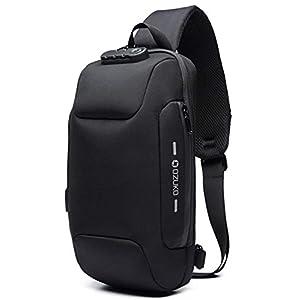 OZUKO(オズコ)[OZUKO] ボディバッグ メンズ 斜めがけ ショルダーバッグ 大容量 防水 USBポート付き ワンショルダー 軽量 盗難防止 iPad収納可能 (ブラック)ブラック