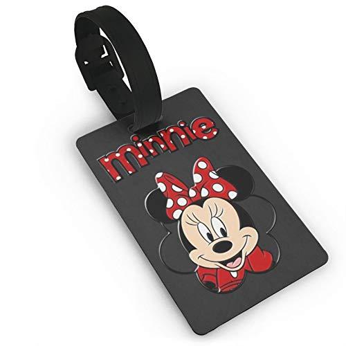 DNBCJJ Etiquetas de equipaje para maletas Minnie Mouse Negro etiqueta de equipaje, con nombre ID maleta para mujeres, hombres, niños, accesorios de viaje