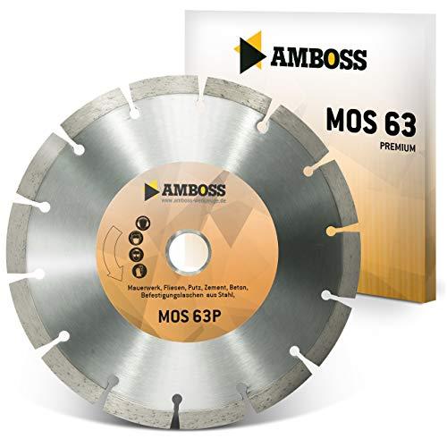 Amboss MOS 63P - Diamant-Trennscheibe für Montagefräsen Lamello Tanga Delta H / S2 - Mauerwerk/Fliesen/Putz/Beton/Laschen aus Stahl | Ø 200 mm x 22,2 mm | Segmenthöhe: 10 mm (gesintert)
