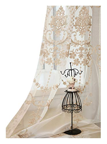 High Grade European Embroidered Sheer Curtains Rod Pockets Top Window Treatment Voile Panel Drape for Living Room Bedroom Kichen and Dining Room(1 Panel,W50 x L84 inch,Beige Bottom + Gold Embroidery)