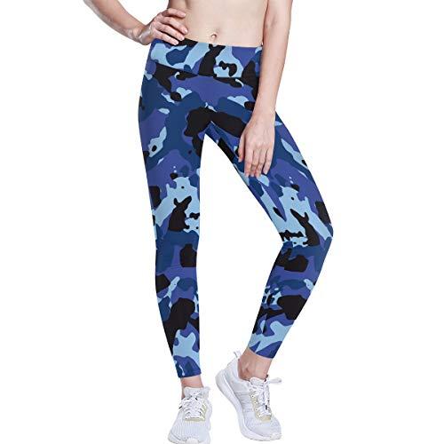 Linomo Yoga-Hose für Frauen mit Hoher Taille, Camo Blau Tarnen Trainieren Laufen Hose Yoga Leggings für Frauen