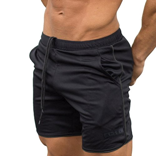 OSYARD Männer Sport Training Bodybuilding Sommer Brief Shorts Workout Fitness Gym Kurze Hosen(L, Schwarz)