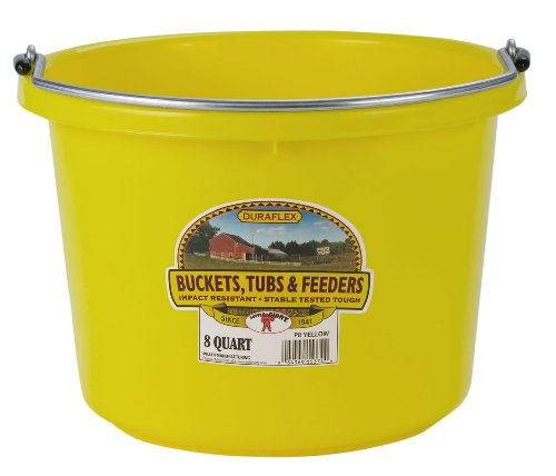 Miller Manufacturing P8YELLOW Plastic Round Back Bucket for Horses, 8-Quart, Yellow