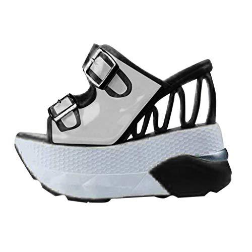 ITISME Ciabatte con Tacco a Zeppa Pantofole Eleganti da Donna con Fibbia Tacco Alto Vintage Trasparente Scarpe da Spiaggia Donna
