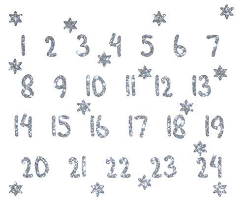 marinamalina Adventszahlen zum Aufbügeln Aufkleber Hotfix Bügelbild Textilaufkleber Glitterfolie Glitzerfolie bunt 24 Stück (450 Silver)