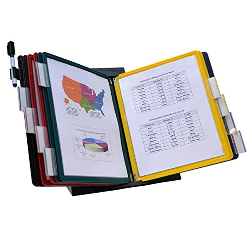 Ultimate Office DocuMate 10-Pocket Desk Reference Organizer with Assorted Color Easy-Load Pockets, Steel-Reinforced Pins, and Free Bonus Panel