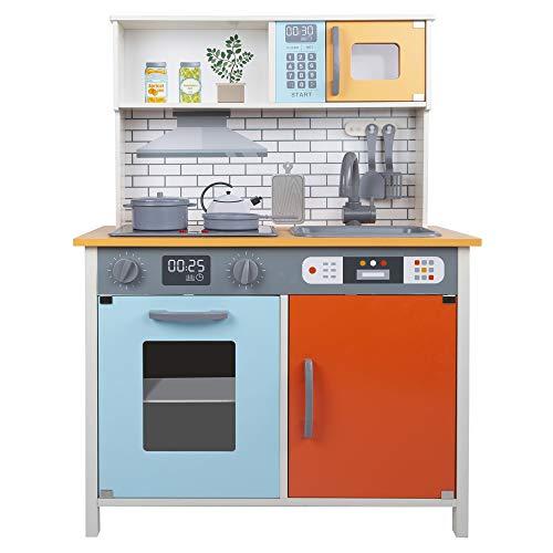 Teamson - Niños, Cocina juguete madera, Set infantil, Cocina para niños 3 años, Accesorios utensilios cocina, Juguete Luz y Sonidos, Juego de imitación, Cocina infantil color naranja (85382)