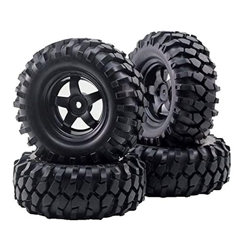 XXLYY RC 1:10 Neumáticos de llanta de Rueda de vehículo Todoterreno para Coche de Escalada Buje de 12 mm (4 Piezas)