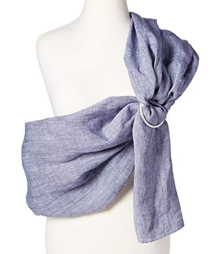 Baby Carrier Ring Sling by Hip Baby Wrap for Newborns, Infants and Toddlers (Blueberry Chambray) - Beautiful, 100% Linen - Perfect Baby Show Gift - Great for New mom and dad - Nursing Cover