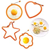 PREMIUM MATERIAL - Non-stick premium silicone fried egg cooking rings are made of 100% food grade high quality free silicone. Egg rings won't scratch your pans and bakeware. They are fadeless, eco-friendly, nontoxic. HEAT RESISTANT - The heat resista...