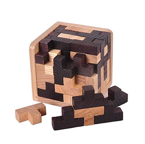 54 Stuks T-Vorm Blokken Combinaties 3D Houten Educatief Speelgoed Brain Teaser Puzzel Zwart-Wit Voor Kids Volwassenen,Beige