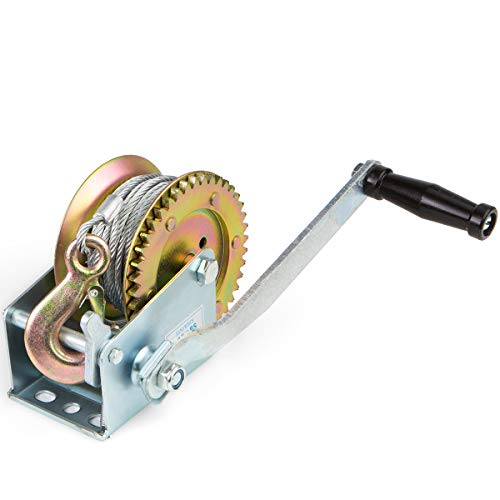 XtremepowerUS Hand Winch Crank Gear Winch & Cable, Up to 2,000 lbs Capacity Manual Operated Two-Way Ratchet