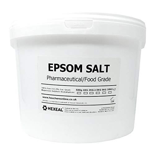 Hexeal EPSOM SALT | 10KG BUCKET | 100% Pharmaceutical | FCC Food Grade | Magnesium Sulphate