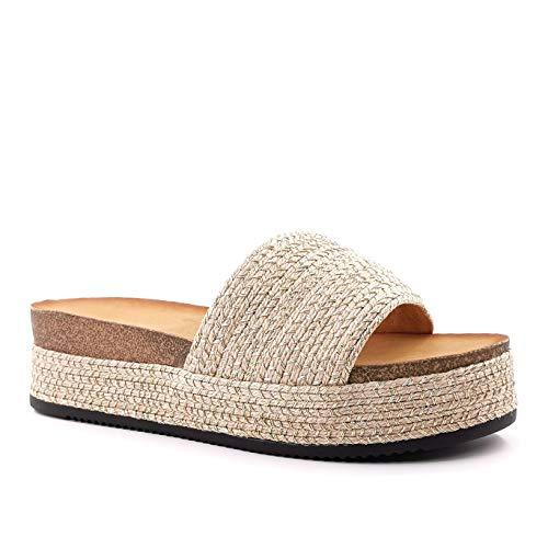 Angkorly - Damen Schuhe Schuh-Mule Sandalen - Step - Strand - romantisch - mit Stroh - Geflochten - Kork Keilabsatz 5 cm - Champagner YT-67 T 40