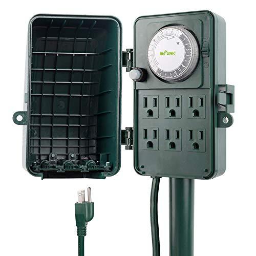 BN-LINK 24 Hour Mechanical Outdoor Multi Socket Timer, 6 Outlet Garden Power Stake