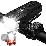 Storaffy Set di Luci per Bici con Horn- USB Lampade da Bici Ricaricabili Davanti e retrò Luci Posteriori Super Luminose e Luci del Fanale Posteriore LED Impermeabili Le Luci della Bici Impermeabili