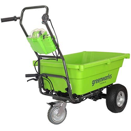 Greenworks Chariot de jardin sans fil sur batterie avec cuve basculante 40V Lithium-ion (sans batterie ni chargeur) - 7400007