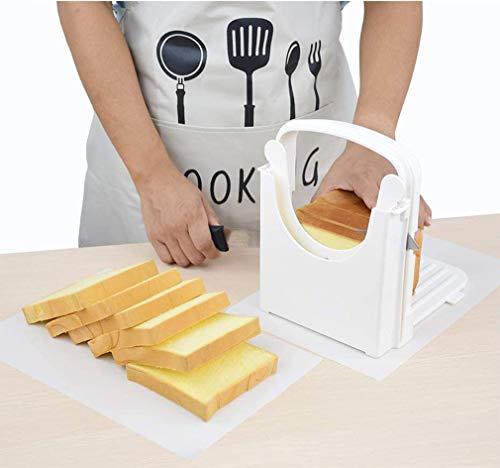 Aobrill Bread Slicer for Homemade Bread Foldable Toast Slicer with Non-slip Mat (White)