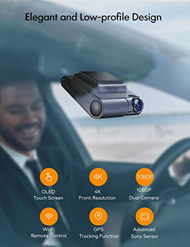 APEMAN 4K Touch Screen Dash Cam, 1920x1080P Front and Rear Dash Camera for Cars, Built-in GPS & Wi-Fi, Dual 170° Sony Sensor Car Camera, with Parking Mode, Motion Detection, Support 128GB Max