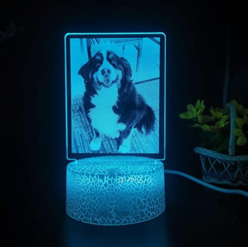 Luces de noche personalizadas tallar tus fotos y palabras Lámpara de color romántica personalizada Regalo personalizado 7 luces de color (base de grietas de luz de 7 colores)