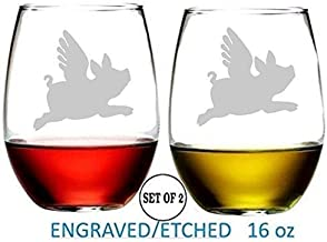 Flying Pig Stemless Wine Glasses Etched Engraved Perfect Fun Handmade Gifts for Everyone Set of 2