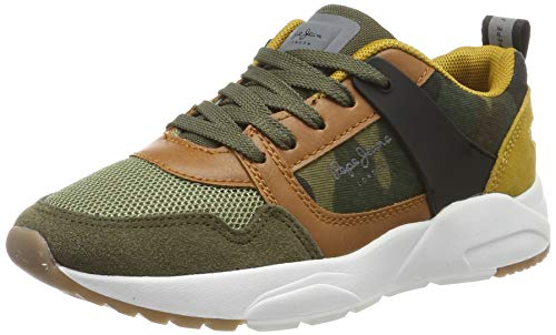 Pepe Jeans London Herren David CAMO Sneaker, Grün (Khaki Green 765), 37 EU