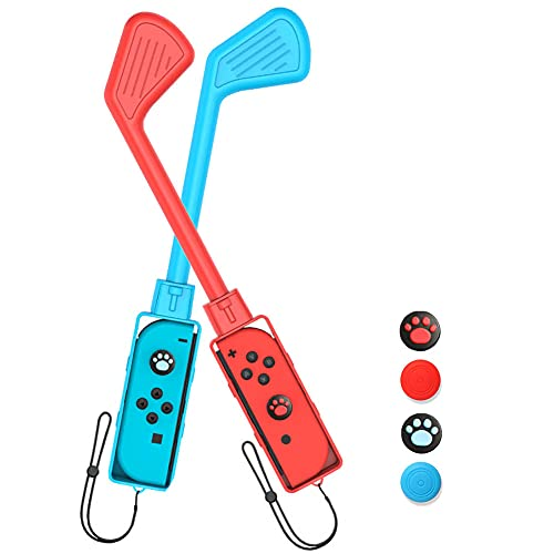 Aosai 2 Pack Golf Clubs for Mario Golf: Super Rush - Nintendo Switch with 4 Thumb Grips and 2 Hand Straps, Switch Game Mini Golf Clubs Accessories Compatible with Switch Joy-con (Red + Blue - 2 Pcs)