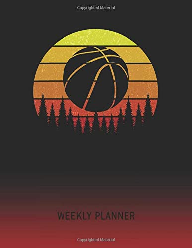 Weekly Planner: Basketball Player | 2021 - 2022 | Plan Weeks for 1 Year | Retro Vintage Sunset Cover | January 21 - December 21 | Planning Organizer ... | Plan Days, Set Goals & Get Stuff Done
