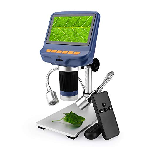 Amoper 4.3 inch Digital USB Microscope 10X-220X Magnification with Remove Control & 2 Fill Light,1080P LCD Screen Camera Video Recorder for Electronics Repair Circuit Board Soldering Jewelry Appraisal