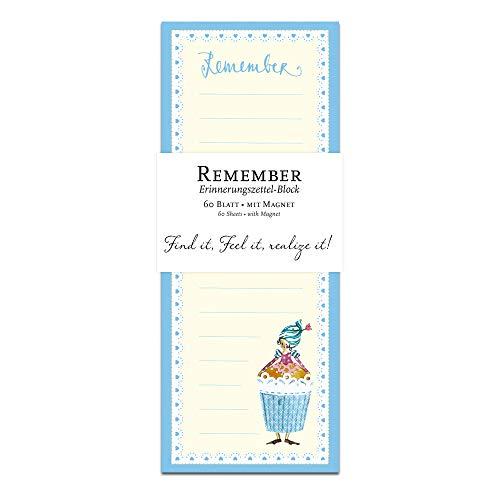 Notizblock, Notizzettel, To-Do-Liste gebunden, 60 Blatt, magnetisch für Kühlschrank mit Motiv, Cupcake-Figur, Einkaufsliste, blau, weiß, creme, retro