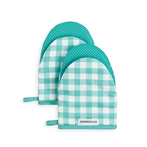 KitchenAid Kitchen Aid Gingham Mini Oven Mitt Set, 5.5'x8', Aqua Sky