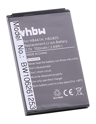 vhbw Li-Ion batería 700mAh (3.7V) para móvil Smartphone teléfono Huawei HWM636, HWM636-R, M318, M635, M636, Pinnacle 2, U120, U121, U2800, U2800A