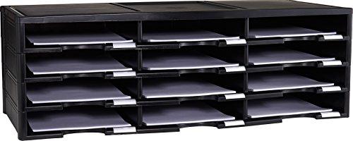 Storex Modular 12-Compartment Literature Organizer, Black