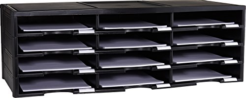Storex Modular 12-Compartment Literature Organizer, Black