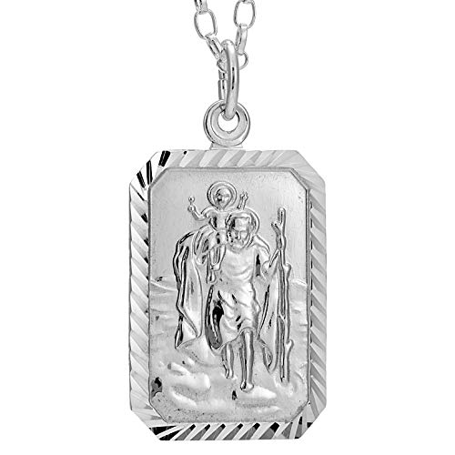 Rectangular Sterling Silver St Christopher Pendant and 18' Chain with Jewellery Presentation Box