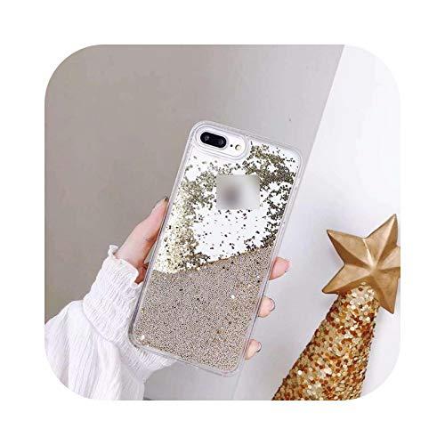 Sparkle flotante líquido Glitter Quicksand caso para iPhone Xsmax Xs Xr X 8 7 6S 6 Plus cubierta transparente de lujo del teléfono Coque Funda-Brown-Para Iphone 6Plus