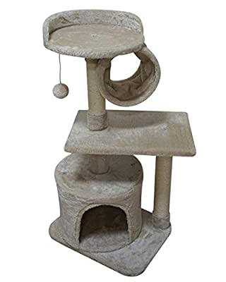 FISH&NAP US01M Cat Tree Cat Tower Cat Condo Sisal Scratching Posts with Jump Platform and Cat Ring Cat Furniture Activity Center Kitten Play House Beige