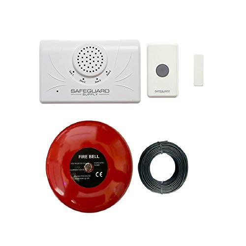 "Door Alarm for Business When Entering - Safeguard Supply Commercial Series Wireless Door Chime for Business with Loud 6"" Alarm Bell Ideal for Warehouse & Business Locations Needing A Loud Doorbell"