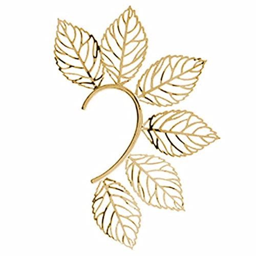 FDSWUZF Pendientes Retro Leaf Sin Piercing - Pendientes De Hoja De Metal De Ear Cuff Elf (Dorado)