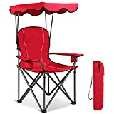 GYMAX Canopy Chair, Portable Folding Beach Pool Chair Lawn Chair with Canopy Two Cup Holders and Carry Bag, for Outdoor Beach Camp Park Patio (Red)
